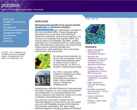 Pattotek ltd Wesbite - Electronic Design and manufacturing consultancy